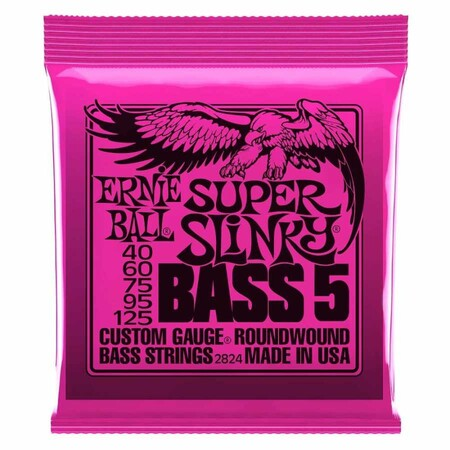 Ernie Ball - Ernie Ball 2824 Super Slinky Nickel 40-125 (5 Telli) Bas Gitar Teli
