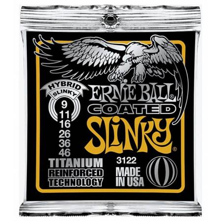 Ernie Ball 3122 Titanium Coated Hybrid Slinky Elektro Gitar Teli (09-46)