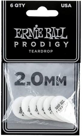 Ernie Ball - Ernie Ball 9336-2.0mm Small White Teardrop Prodigy Gitar Penası 6'lı Paket