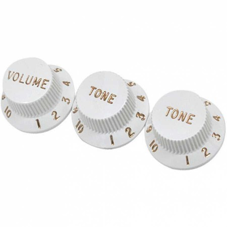 Fender 2Tone-1Wolüme Strat Style Knob White - Thumbnail