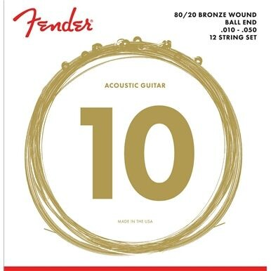 Fender - Fender 80/20 Bronze Ball End 10-50 12 Telli Akustik Gitar Tel Takımı