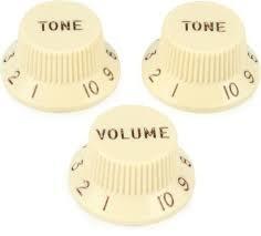 Fender - Fender Left-Handed Stratocaster Knobs, Aged White, Set of 3 (W/T/T)