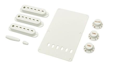 Fender - Fender Stratocaster Accessory Kit White Knobs Kits & Pick Up Covers
