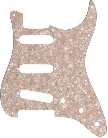 Fender - Fender Stratocaster Pickguard 11 Delikli S/S/S, Eskitme Sedef (Aged White Moto)