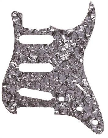 Fender - Fender Stratocaster Pickguard 11 Delikli S/S/S, Siyah Sedef (Black Moto)