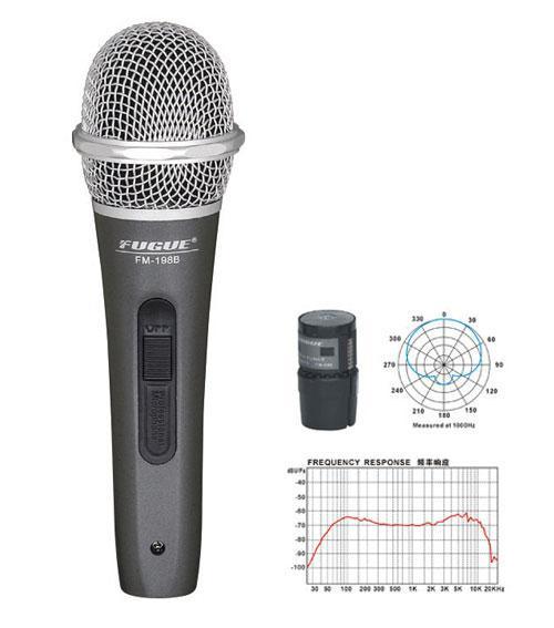 Fugue FM-198B Mikrofon Kablolu Gümüş Başlıklı Dinamik Tek Yönlü