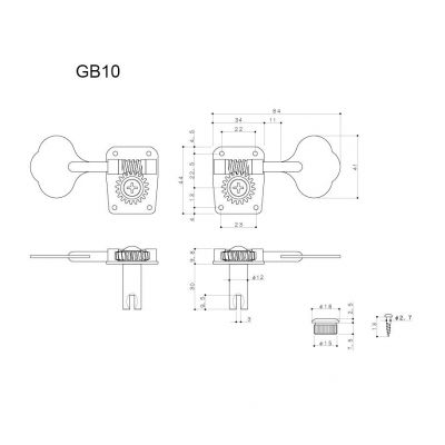 Gotoh 2L+2R Krom GB10L Bas Gitar Burgu Takımı