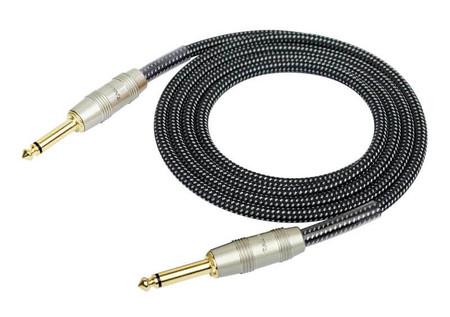 Kirlin - Kirlin IW-241PRG Örgü Kaplamalı Siyah 3 Metre Enstrüman Kablosu