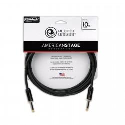 PlanetWaves PW-AMSG-10 Amerikan Stage Serisi 3m Siyah Düz Uçlu Enstrüman Kablosu - Thumbnail