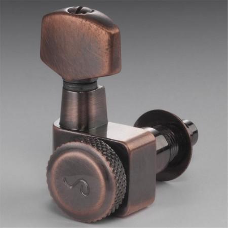 Schaller - Schaller Vintage Copper Tek Sıra Kilitli Tek Sıra Elektro Gitar Burgu Takımı
