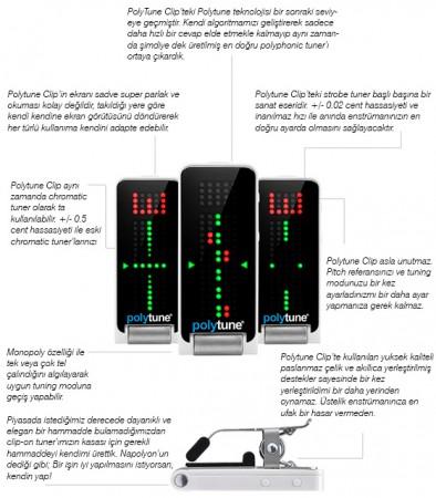 TC Electronic Polifonik Akort Aleti-Polytune Clip Tuner Black - Thumbnail