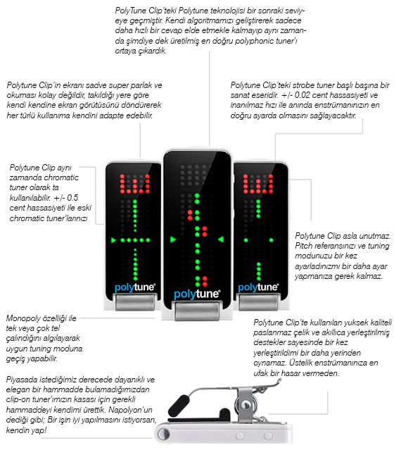 TC Electronic Polifonik Akort Aleti-Polytune Clip Tuner Black